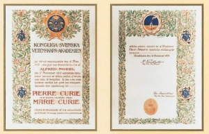 Pierre and Marie Curie Diploma for Nobel Prize in Physics