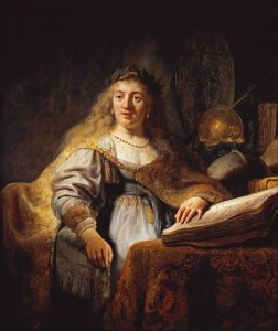 Minerva, Goddess of Wisdom and sponsor of arts, trade, and strategy. By Rembrandt. Public Domain